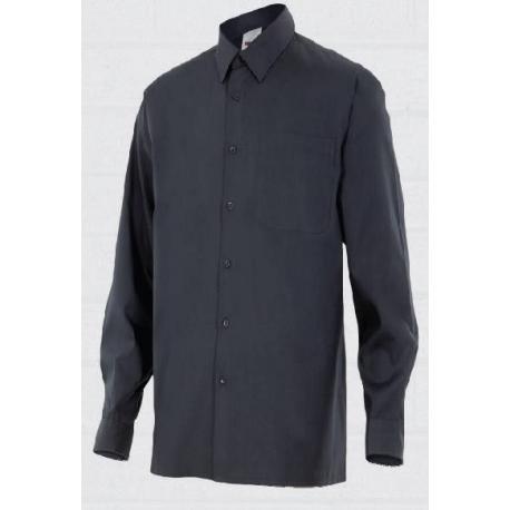 Camisa Negra con cuello manga larga caballero