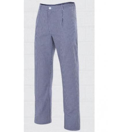 Pantalón a cuadros azul para cocina