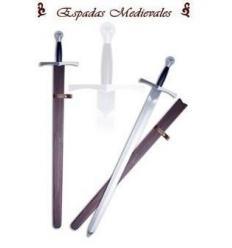 Espada medieval rústica en acero al carbono con vaina