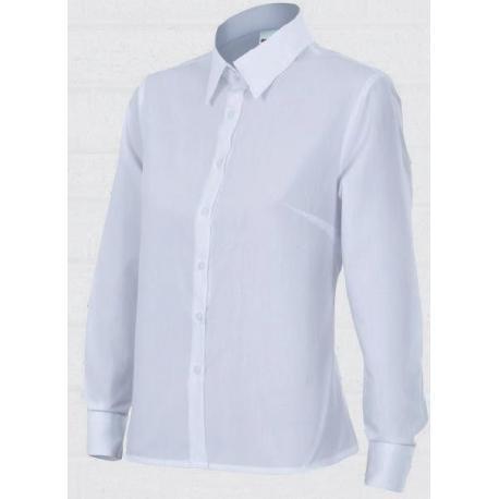 Camisa blanca con cuello y manga larga de mujer
