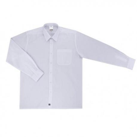 Camisa branca com gola e manga longa de cavaleiro